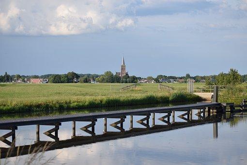 Landscape, Polder, Church Tower, Netherlands