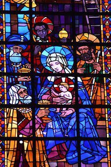 Stained Glass, Window, Church, Magi, Virgin, Mary