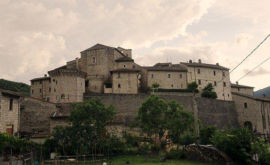 Vallo Di Nera, Medieval Village, Sky, Mood, Middle Ages