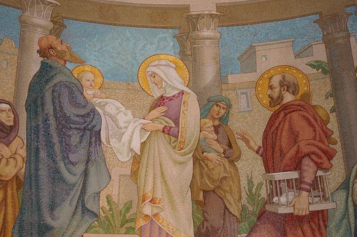 Mosaic, Scene, People, Jesus, Parents, Mary, Joseph