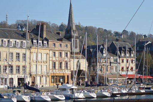 Landscape, Port, Honfleur, Boats, Church