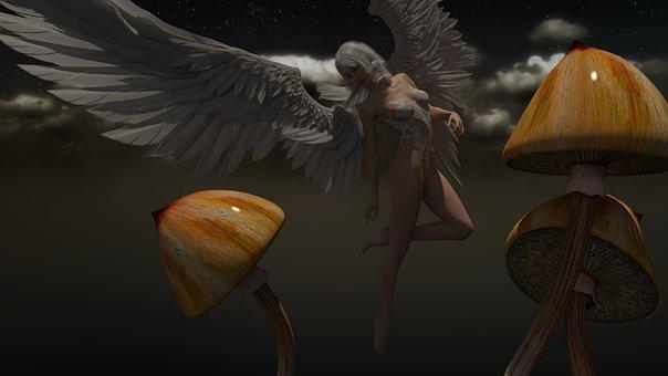Angel, Sexy, Wings, Mushrooms, Shrooms, Skies, Heaven