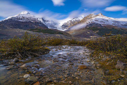 Mountains, Landscape, River, Nature, Sky