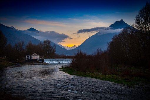 Mountain, River, Sky, High Pyrenees, Evening, Calm, Zen