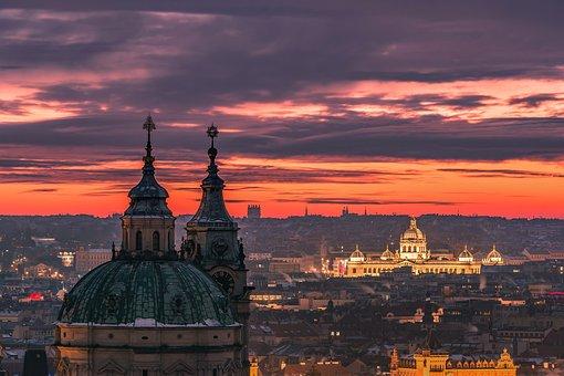 Prague, Sunrise, Cityscape, Architecture, Snow