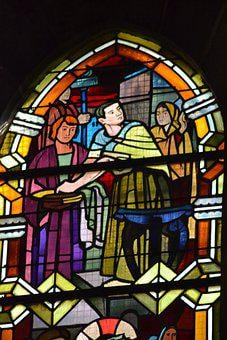 Stained Glass, Window, Church, People, Three