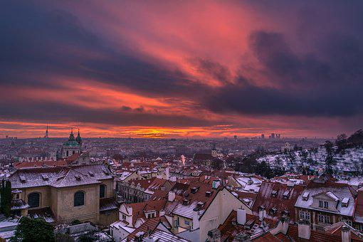 Prague, Sunrise, Cityscape, Architecture, Snow