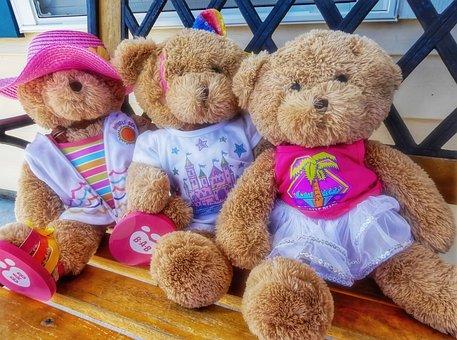 Teddy, Bears, Teddy Bears, Three, Triplets, Toy, Fluffy