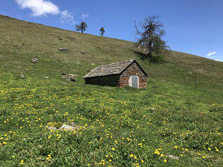 Hut Piandioss, Towards The Pizzo Di Nara, Alpine Route