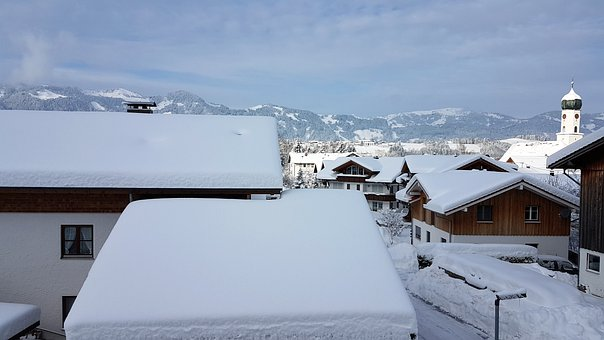 Village In The Snow, Bergdorf, Snow, A Lot Of Snow