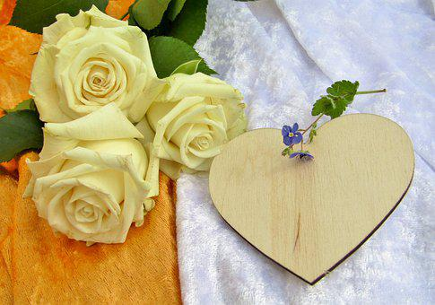 Roses, White, Heart, Wood, Wooden Heart, Thank You