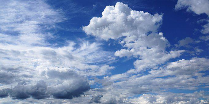 Clouded Sky, Sky, Clouds, Blue, White, Grey, Atmosphere