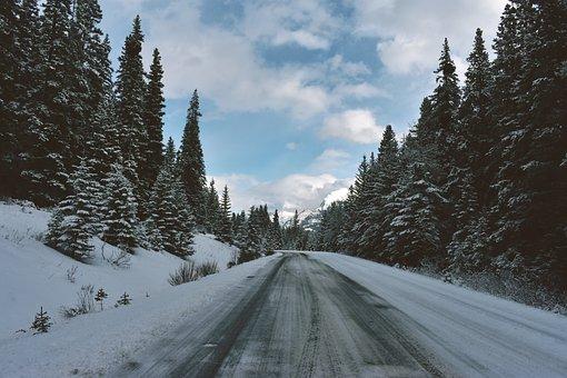 Banff, Snow, Road, Canada, Landscape