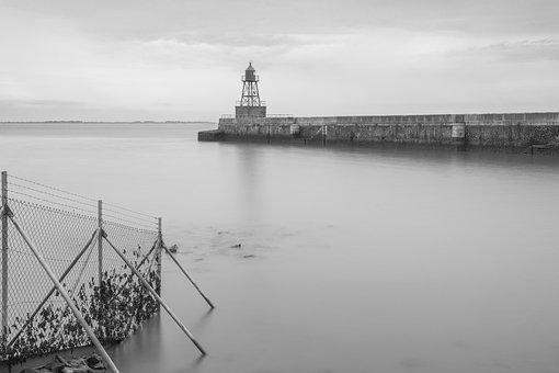 Wilhelmshaven, Mole, Beacon, Fine Art, Black And White