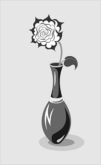 Rose, Rosebud, Bud, Gray, Black And White, Black, White