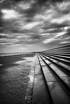 Beach, Black, White, Storm, Sea, Uk, Perspective, Sand