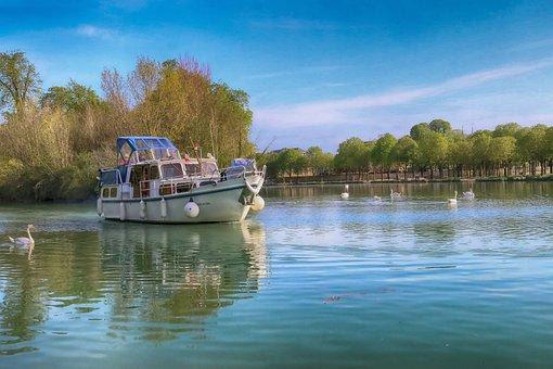 Landscape, Cruise, Boat, River, France