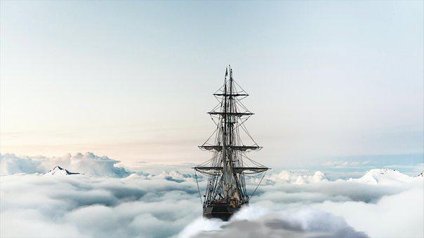 Boat, Sea, Travel, Ship, Sky, Mountains, Ocean, Clouds