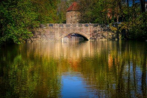 Channel, Lake, Pond, Bridge