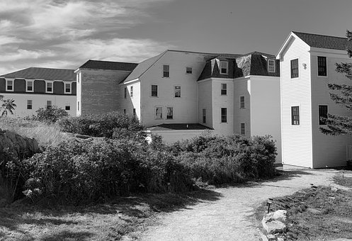 Buildings, Star Island, New Hampshire, Black And White