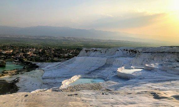 Turkey, Pamukkale, Landscape, Limestone, Calcium, Water