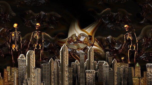 City, Dead, Dark, Dante, Hell, Blind, Skeleton, Brain