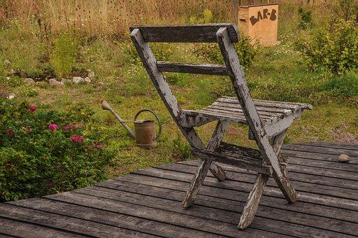 Chair, Veranda, Garden, Terrace, Click, Sit, Weathered