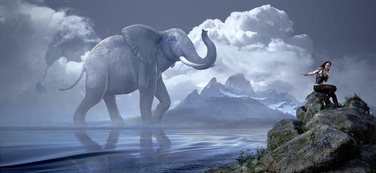 Fantasy, Elephant, Girl, Mood, Dream World, Fantastic