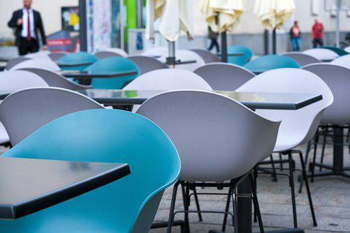 Table, Chair, Colorful, Blue, White, Grey, Gastronomy
