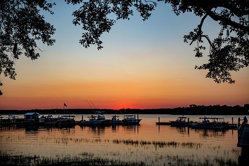 Hilton Head, Skull Creek, Sunset, Bay, Sky, Colorful