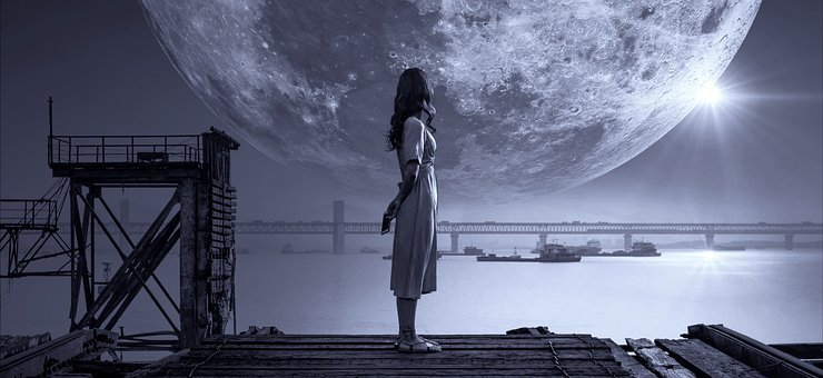 Fantasy, Moon, Girl, Night, Bank, Light, Sky, Young