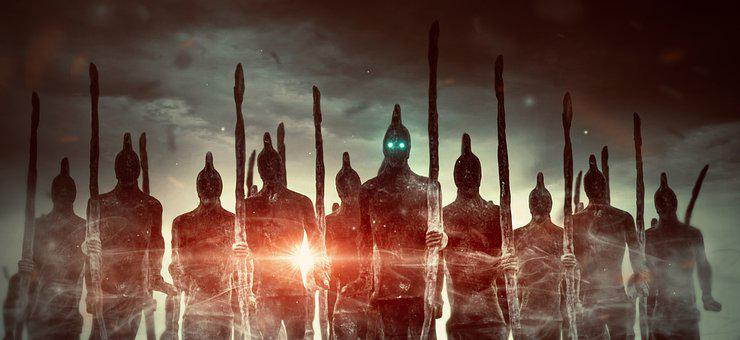 Fantasy, Army, Fighter, Warrior, Men, Figures, Light