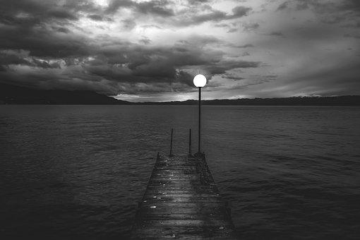 Pier, Dock, Lamp, Lake, Mountains, Horizon, Morning