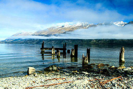 Travel, Mountains, Mist, Jetty, Landscape, Adventure