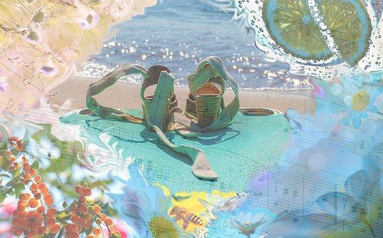 Shoes, Music, Beach, Sand, Summer, Music Sheet