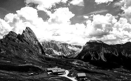 Mountain, Black White, Landscape, Nature