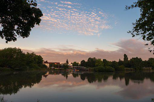 Park, Lake, Sky, Clouds, Evening, Nature, Reflections