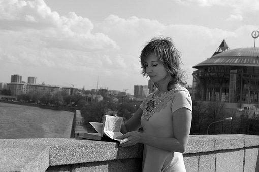 Reading, Girl, Bridge, River, Panorama, City, Street