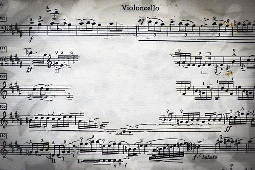 Cello, Music Sheet, Faded, Clef, Rhythm, Scrapbook