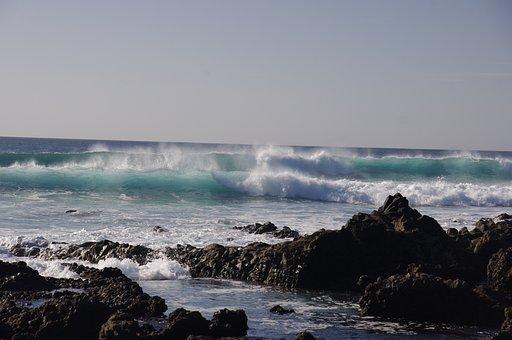 Volcanic, Beach, Lanzarote, Stormy, Waves, Rocks, Black