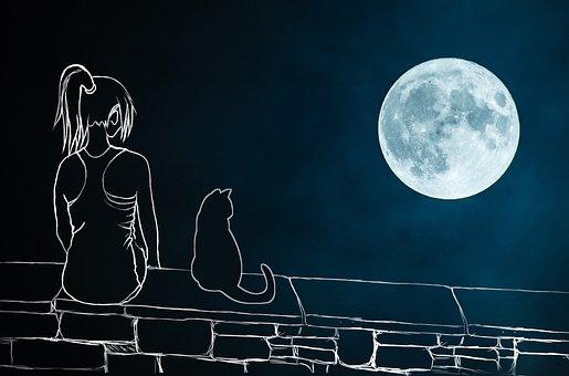 Girl, Cat, Moon, Wall, Melancholy, Sad, Alone, Romantic