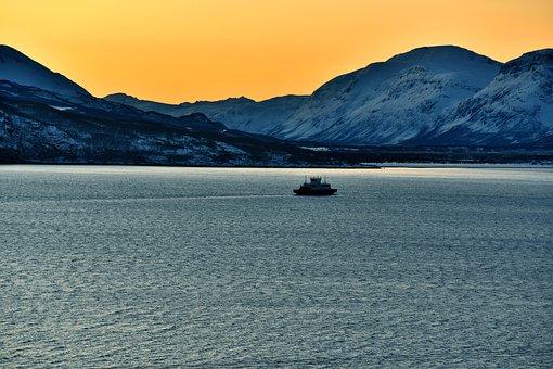 Ship, Norway, Sea, Fjord, Scandinavia, Landscape