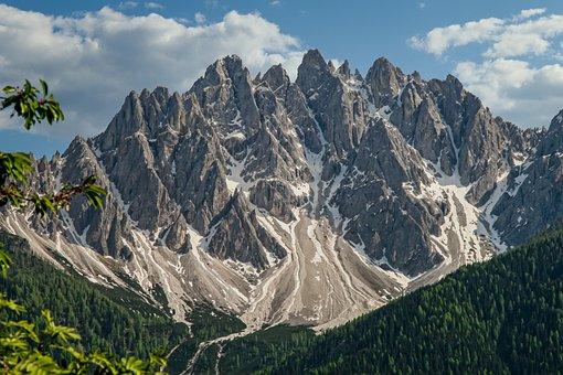 Massif, South Tyrol, Rock, Snow, Cloudy