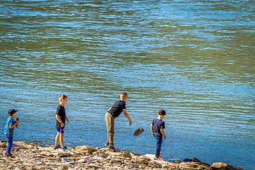 Play, Children, Stone, Throw, Water, River, Joy, Happy