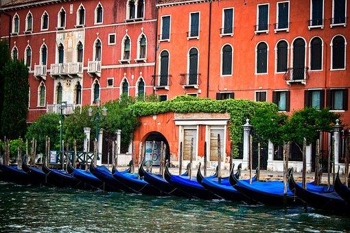 Venice, Orange, Italy, Tourism, Water, Architecture