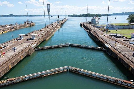 Panama Canal, Locks, Canal, Panama, Ship, Travel