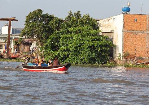 Vietnam, Travel, Mekong River, River, Taxi, Water Taxi