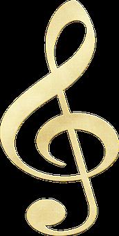 Gold Foil Designs, Musical Note, Treble Clef, Sound