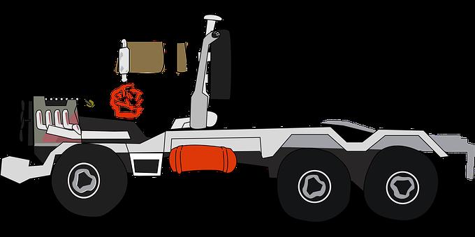 Truck, Tractor Trailer, Big Rig, Flatbed Trailer