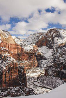Zion, Snow, Canyon, Road, Twisty, Utah, Red Rock